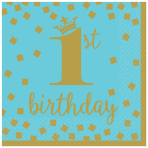1st Birthday Boy Gold Luncheon Napkins 33cm - 12 PKG/16