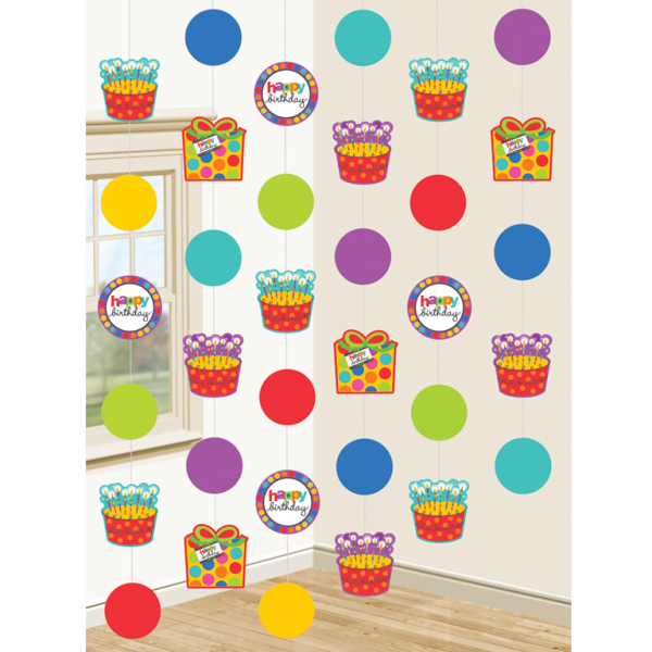 Dots stripes happy birthday string decorations 12 for Dots and stripes party theme