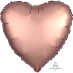 Rose Copper Heart Satin Luxe Standard HX Packaged Foil Balloons S15 - 5 PC