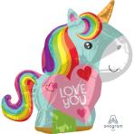 """Unicorn Love Junior Shape Foil Balloons 17""""/43cm w x 21""""/53cm h S40 - 5 PC"""