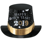 2019 Happy New Year Prismatic Top Hats - 12 PC