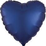 Navy Heart Satin Luxe Standard HX Packaged Foil Balloons S15 - 5 PC