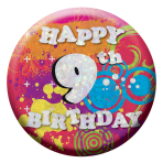 Happy 9th Birthday Badges Small 55mm Holographic - 12 PKG