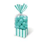 Robin Egg Blue Candy Buffet Striped Party Bags - 24 PKG/10