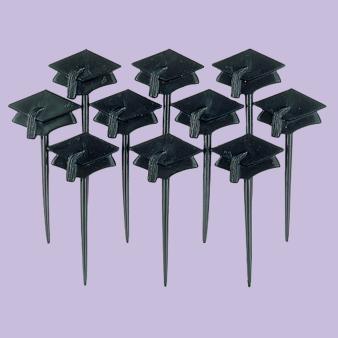Graduation Cap Plastic Picks - Black - 12 PKG/10