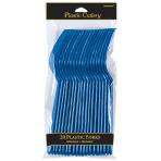 Bright Royal Blue Plastic Forks - 12 PKG/20