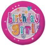 Happy Birthday Girl Holographic Badges 5.5cm - 12 PC