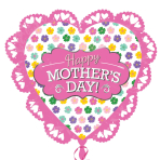 "Happy Mother's Day Pink Intricate Heart SuperShape XL Foil Balloons 23""/58cm x 21""/53cm P38 - 5 PC"