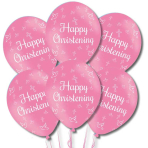 "Happy Christening Pink Latex Balloons 11""/27.5cm - 10 PKG/6"