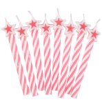 Pink Candles with Star - 12 PKG/8
