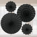 Black Glitter Paper Fans - 6 PKG/4