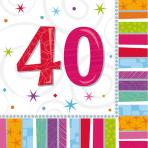 Radiant Birthday 40th Luncheon Napkins - 12 PKG/16