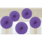 Purple Mini Paper Fans 15.2cm - 12PKG/5