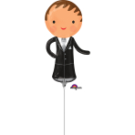 "Handsome Groom Mini Shape Foil Balloons 6""/15cm w x 13""/33cm h A30 - 5 PC"