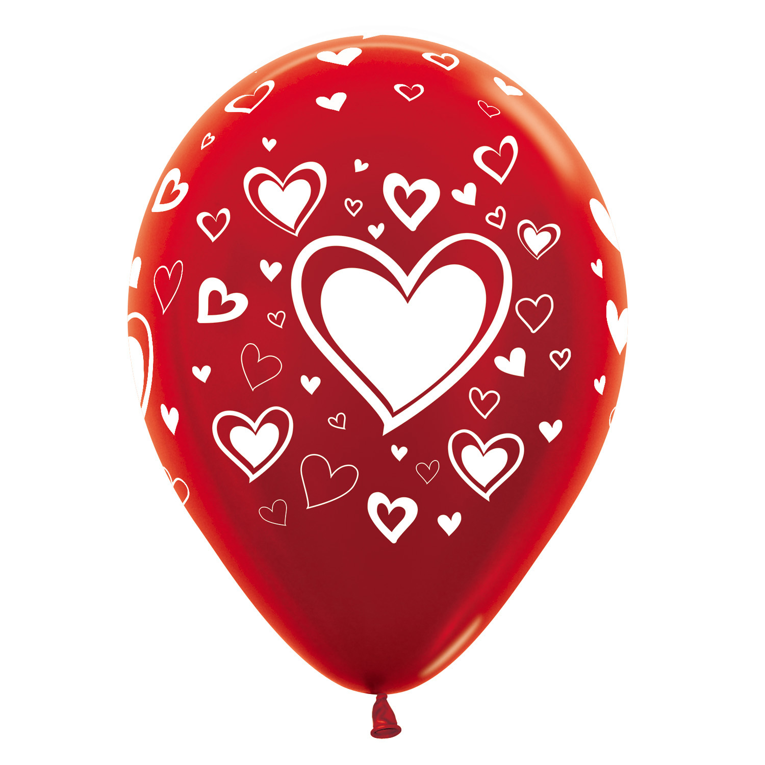 Hearts All Over Metallic Red 515 Latex Balloons 12