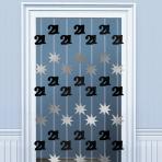 21st Birthday Black & Silver Door Curtains 2m - 6 PKG