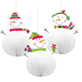 Joyful Snowman 3D Hanging Decorations 20.3cm - 12 PKG/3
