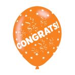 "Congrats Assorted Colours Latex Balloons 11""/27.5cm - 10 PKG/6"
