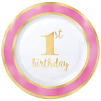 1st Birthday Girl Pink Border Metallic Plastic Plates 26cm - 6 PKG/10