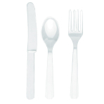 Frosty White Cutlery Assortment - 12 PKG/24