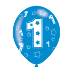 "Age 1 Blue Latex Balloons 11""/27.5cm - 10 PKG/6"