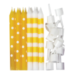 Yellow Dots & Stripes Candles - 12 PKG/12