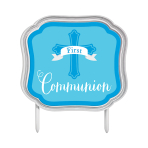 First Communion Blue Cake Topper 11cm x 10cm - 12 PC