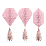 Rose Gold Blush Honeycomb Decorations with Tassels 30.4cm - 9 PKG/3