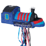 Blue Train Pull Pinatas - 4 PC