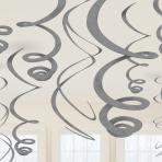 Silver Plastic Swirls 55cm - 6 PKG/12