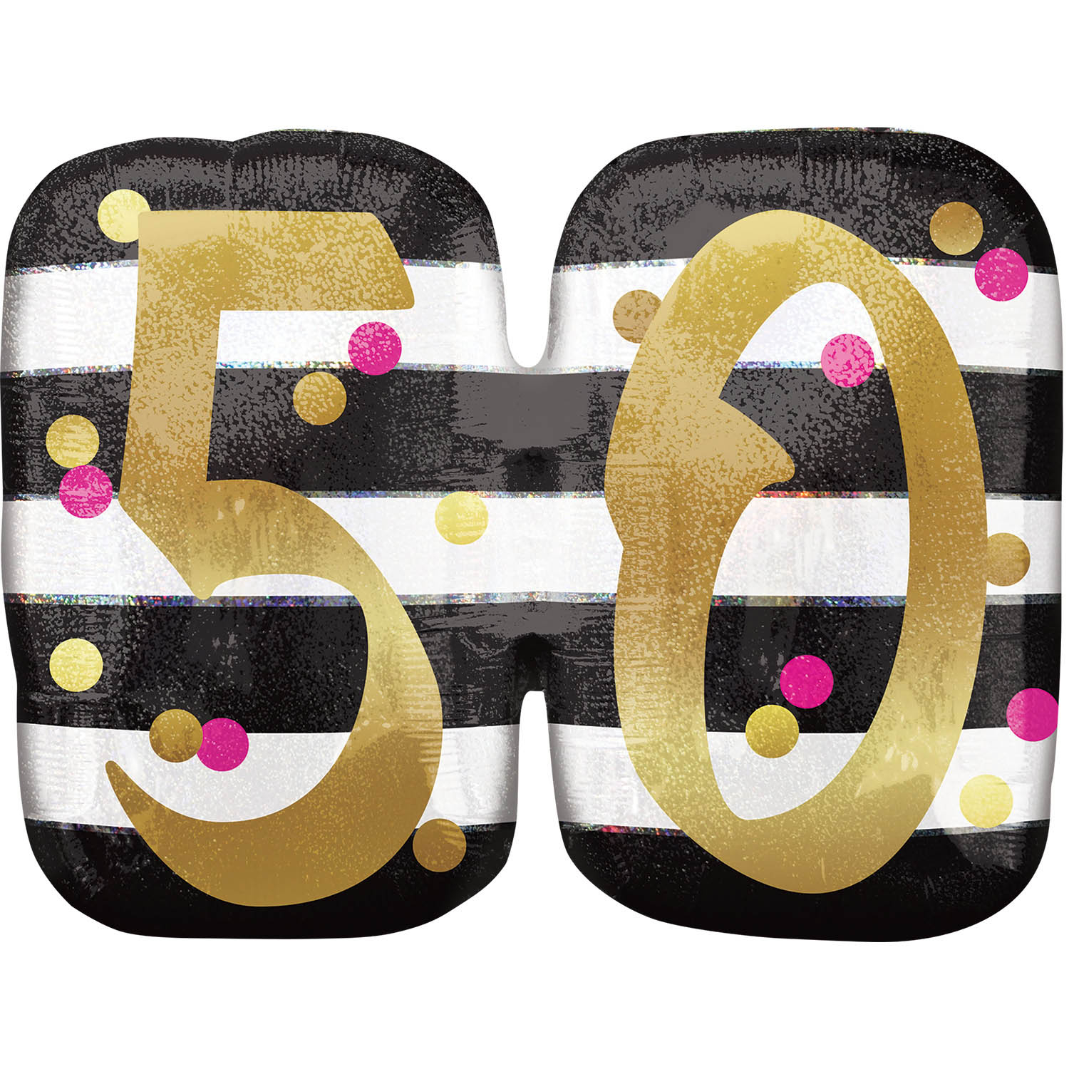Pink Gold 50th Birthday Holographic SuperShape Foil Balloons 25 63cm X 20 50cm P40