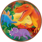 Prehistoric Party Metallic Plates 22.8cm    - 12 PKG/8