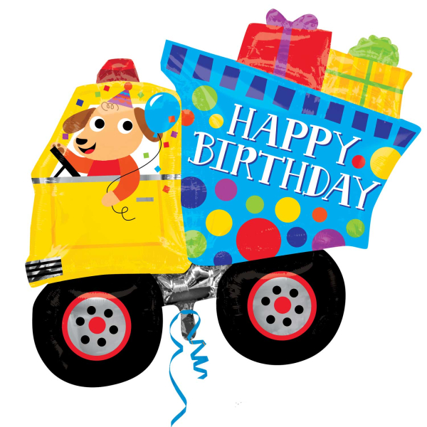 Details About Happy Birthday Dog Dumper Truck Shaped Supershape Foil Balloon