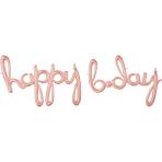 """Happy Bday"" Rose Gold Script Phrase Foil Balloons G50 - 5 PC"