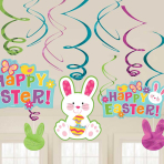 Easter Bunny Hanging Swirl Decorations - 12 PKG/12