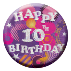 Happy 10th Birthday Badges Small 55mm Holographic - 12 PKG
