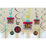18th Celebrate Swirls Decorations - 12 PKG/12