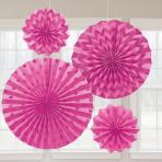 Bright Pink Glitter Paper Fans - 6 PKG/4
