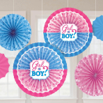 Girl or Boy Card Fan Decorations - 6 PKG/6