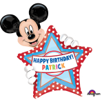 """Mickey Mouse Personalised Birthday SuperShape Foil Balloon 24""""/60cm w x 30""""/76cm w x 30""""/76cm h P40 - 5 PC"""