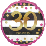Pink & Gold 30th Birthday Holographic Standard Foil Balloons S40 - 5 PC