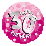 Pink Sparkle Party Happy Birthday 30th Standard Foil Balloons S40 - 5 PC