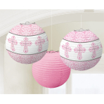 Pink Paper Printed Lanterns - 12 PKG/3