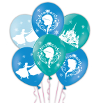 "Frozen 4 Sided Colour Printed Latex Balloons 11""/27.5cm - 6 PKG/6"