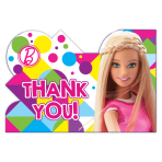 Barbie Sparkle Thank you Cards & Envelopes - 6 PKG/8
