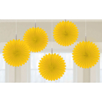 Yellow Mini Paper Fans 15cm - 6 PKG/5