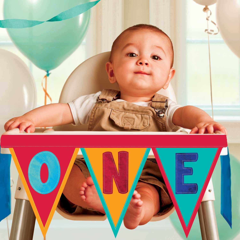 Rainbow 1st Birthday High Chair Decorating Kits 3 PKG Amscan