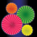 Neon Paper Fans - 6 PKG/4