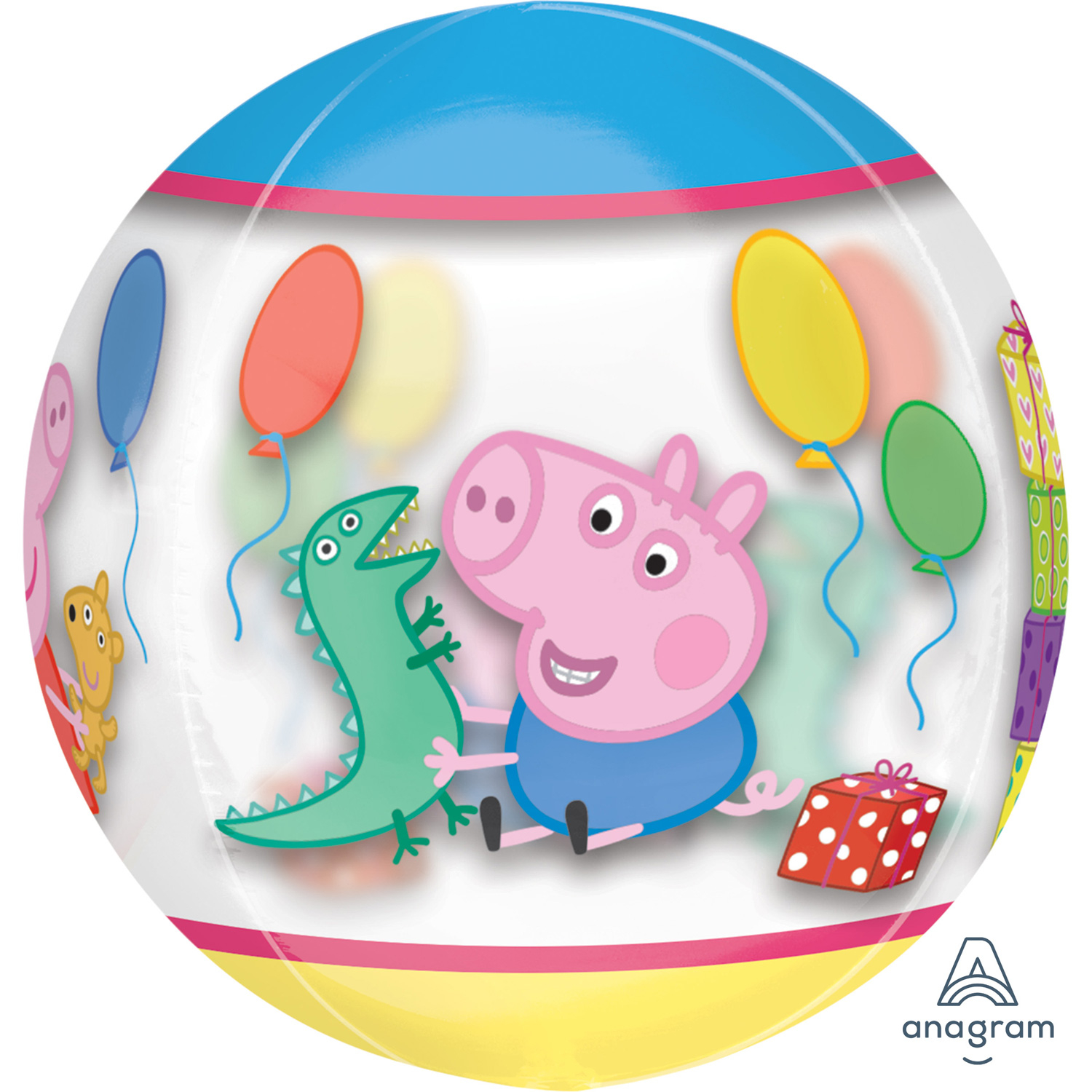 Peppa Pig Clear Orbz Balloon 38cm x 40cm Birthday Party Decoration 15in x 16in