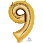 """Number 9 Gold SuperShape Foil Balloons 23""""/58cm w x 35""""/88cm h P50 - 5 PC"""